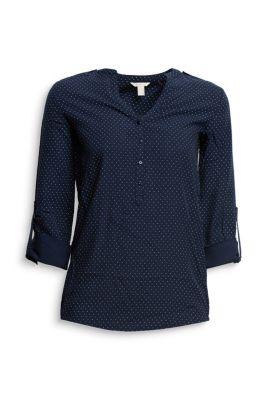 Esprit / Fließende Turn-up-Bluse mit Tupfen-Dessin