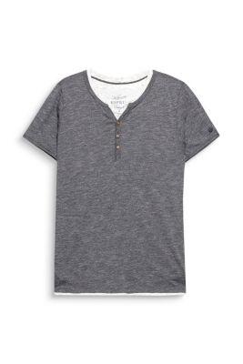 Esprit / Melange jersey Henley in a cotton blend