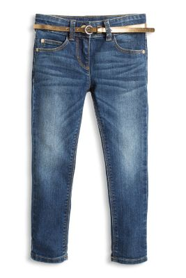 Esprit / Weiche Stretch Jeans mit Goldlackgürtel