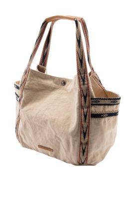 Esprit / Große Baumwoll-Tasche mit Lederbesatz