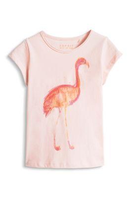 Esprit / Baumwoll T-Shirt mit Prints + Pailletten