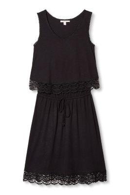 Esprit / Jersey-Kleid im Layer-Look, Baumwoll-Mix