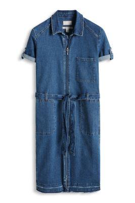 Esprit / Denim-Stretch-Kleid mit fransigem Saum