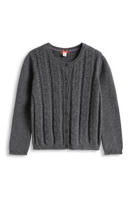 Esprit / Cardigan mit Zopfmuster, 100% Baumwolle