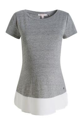 Esprit / Gemêleerd shirt van trendy materiaalmix
