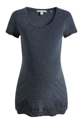 Esprit / Fließendes Melange-Shirt mit Lochstickerei